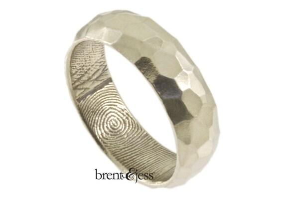 Wide Sterling Silver Hammered Finish Handcrafted Fingerprint Wedding Ring - Fingerprint Wrapped Inside - Tumbled Finish