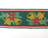 Vintage Trim Woven Jacquard Ribbon Christmas Bells Red Green Gold Wide Japan rib0141 (1 yard)