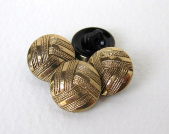 Vintage Czech Buttons Gold Black Glass Shank Embossed 14mm but0185 (4)