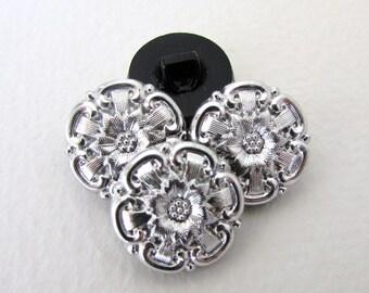 Vintage Glass Czech Flower Buttons Silver Black Sewing Shank 18mm but0254 (4)