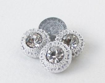 Vintage Rhinestone Buttons Silver Flower Shank Czech 14mm but0269 (4)