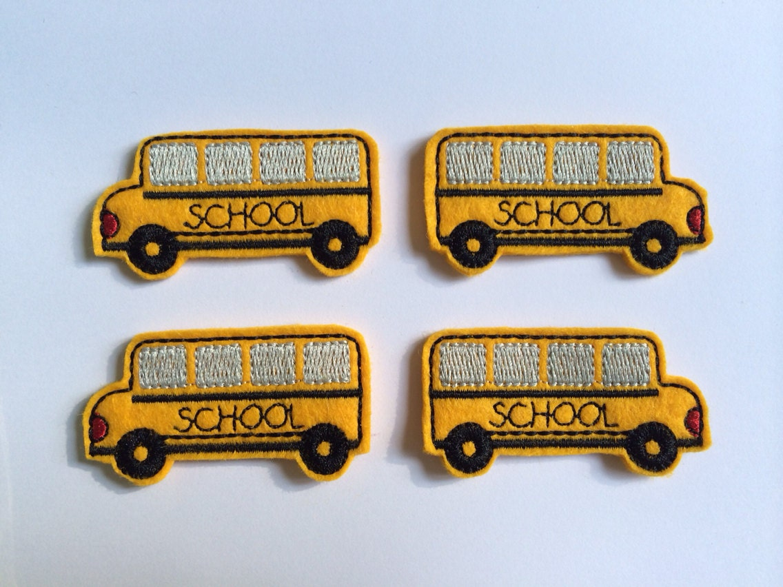 school bus embroidered felt applique from sixspools on