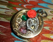 Altered Art Time Piece Necklace/Watch Pieces/ Steampunk Pocket Watch