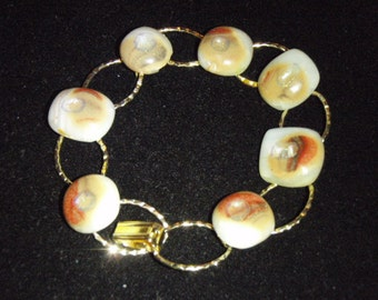 Unique 3D Hand Made Glass and Gold Bracelet