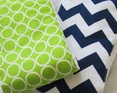 Burp Cloths Set of 2 lime green blue chevron boy or girl gender neutral