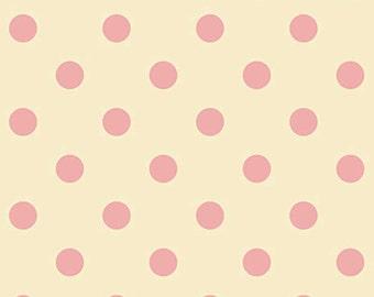 Dear Little World Kitten in Pink and cream polka dot 1 yard