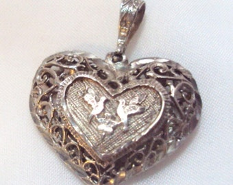 Sterling Silver Puffed Heart Pendant with Doves