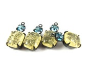 2 - Vintage Octagon Stone and Swarovski Crystal in 1 Ring 2 Stones Black Antique Brass Prong Settings - Crackle Light Yellow & Aqua - 18x8mm