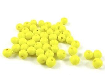 50 - 3mm Tiny Vintage Round Glass Beads - Yellow .