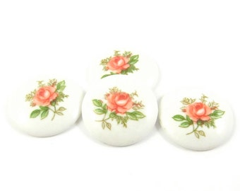 4 - Vintage Glass Flower Round Cabochons - White Base and Pink Rose - 18mm