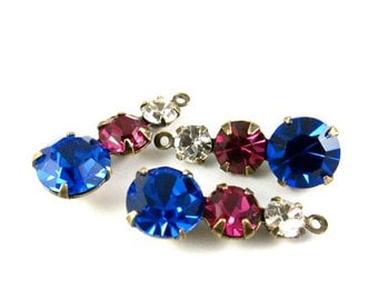 2 - Swarovski Preciosa Crystals Rhinestone Dangles 1 Ring Set Stones Antique Brass Prong Settings Crystal, Fuchsia and Sapphire 23mm .