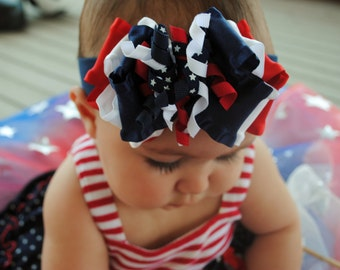 July 4th Red White and Blue Girls Bow Stretch Headband with Gymboree Curlies