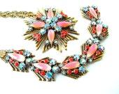 Designer FLORENZA Necklace Bracelet Ombre Peach Sky Blue Rhinestone Arrow Medallion Jewelry Set