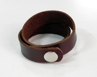 Simple Brown Leather Wrap Bracelet Leather Bracelet Leather Cuff