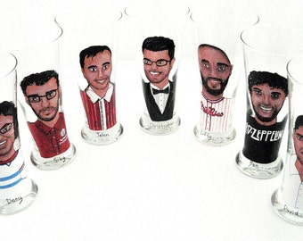 Custom Groomsmen Gifts Personalized Painted Pilsner Beer Glasses (7) Seven Custom Caricatures-Unique Bridal Party Gift