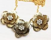 Crystal Flower Link Necklace
