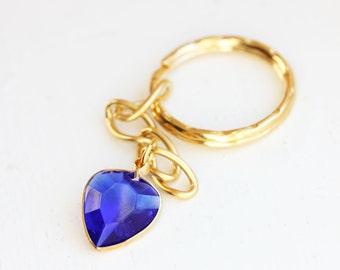 Blue Heart Gem Keychain