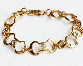 Crystal Link Bracelet, Gold Crystal Bracelet, Gold Link Bracelet, Gold Chain Bracelet, Crystal Chain Bracelet, Crystal Bracelet, Bracelet