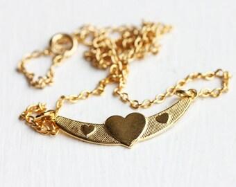 Heart Bar Necklace, Heart Necklace, Bar Necklace, Curved Necklace, Gold Bar Necklace, Gold Heart Necklace