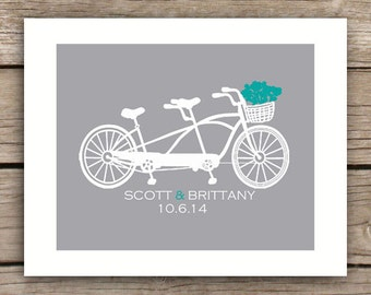 Printable Wedding Gift - Bicycle - Wedding Sign - Engagement Gift - Tandem Bike - Bicycle for Two - Spouse Gift