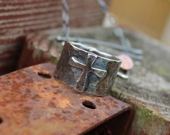 Sterling Silver Cross Ring Made to Order Sterling Silver Hammered Handmade Item #100105