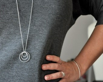 Three Circles Sterling Silver Pendant Necklace with metal chain - modern urban look