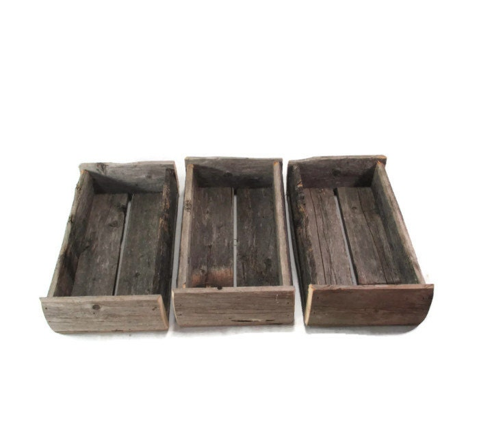 3 small rustic reclaimed wood boxes naturally distressed - Small rustic wooden boxes ...