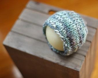 Silk Merino Beanie in Shades of Blue - newborn baby photo prop