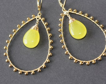 Yellow Jade Gold Large Frames Earrings, Spring Weddings, Bright Colors Jewelry, Bridal Shop, Birthday Gift for Wife, Trending, Spring Trend
