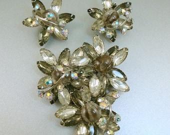 Smoky Gray Rhinestone Brooch Earrings Set