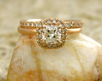 Diamond Engagement Ring with Matching Wedding Band in 14K Rose Gold Size 6