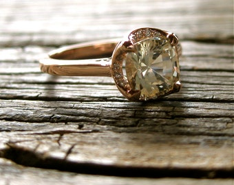 Cushion Cut White Sapphire Engagement Ring in 14K Rose Gold with Diamonds in Halo & Scrolls on Basket Size 6