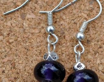 Little Purple Lampwork Bead Dangle earrings