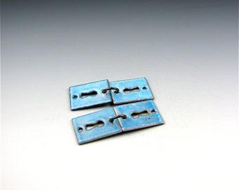 Enameled Key Hole  / Aqua Enamel / Made to order