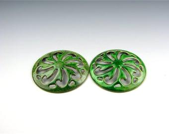 Enameled Pinwheel Focal or Cab /  Peacock Green Enamel / Made to order