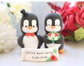 Unique wedding cake toppers penguin - elegant cute love birds with personalized banner