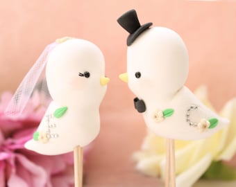 Cute Love birds wedding cake toppers - Custom details and colors - with sparkling initials - names bride groom elegant blush pink yellow
