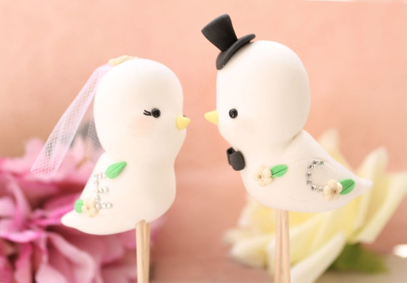 Unique Love birds wedding cake toppers - personalized cute - with sparkling initials - bride groom figurines names elegant blush pink