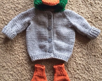 Hand knit Baby mallard duck sweater with duck booties Made to Order