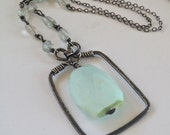 Aquamarine Peruvian Blue Opal Pendant, Hand Formed Oxidized Sterling Silver Necklace