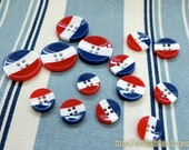Japanese Resin Buttons - French Style Nautical Marine Or Rainbow Stripes, Choose Pattern Size
