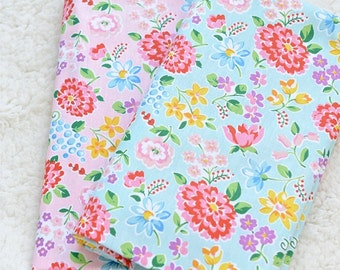 Shabby Chic Spring Blooming Floral Daisy Tulip Rose Flower Garden On Pink Or Blue - Home Decor Cotton Fabric (1/2 Yard, Choose Color)