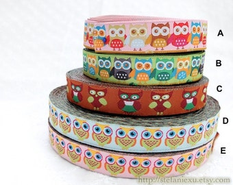 1 Yard Embroidery Sewing Ribbon/Trim - Colorful Multi Color Standing Big Eye Baby Hoot Owls Collection