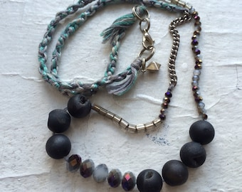 Mixed Media Necklace - Periwinkle