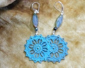 Free Shipping Shabby Patina Turquoise Blue brass Filigree Women Teen Girls Coupon Code