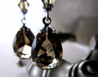 Smokey Quartz Earrings, Estate Style, Hollywood Glam, Bridal Jewelry, Bridesmaid Jewelry