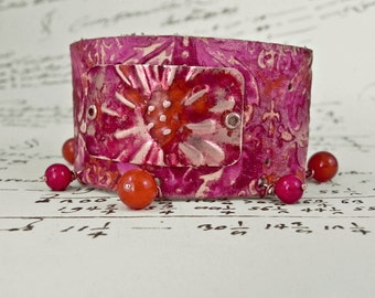 Pink Beaded Leather Cuff Bracelet with Handmade Copper Focal