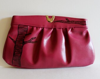 VINTAGE pink CLUTCH with hand painted TREE