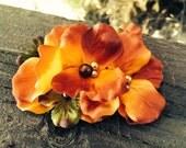 Autumn ~ Fall Floral and Glass Pearl Hair Clip hair fascinator brooch bridal piece hair piece