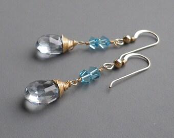 Aquamarine Gold Fill Dangle Earrings Gemstone Crystal